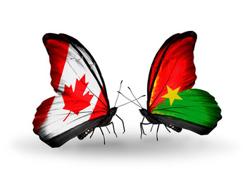 Two butterflies with flags Canada and Burkina Faso