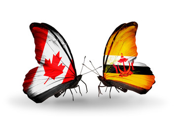 Two butterflies with flags Canada and Brunei
