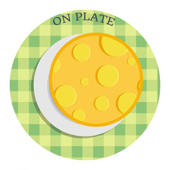 Cheese on plate. Vector illustration