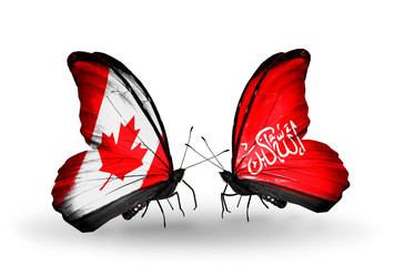 Two butterflies with flags Canada and Waziristan