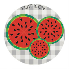 Half of watermelons of different sizes. Vector illustration