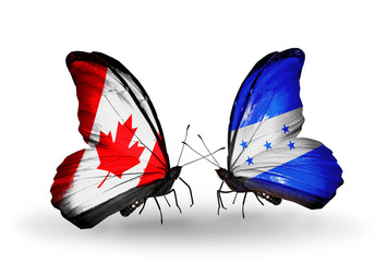 Two butterflies with flags Canada and Honduras