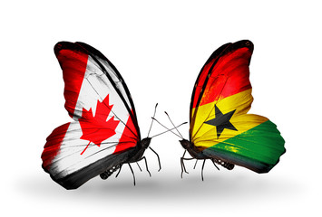 Two butterflies with flags Canada and Ghana