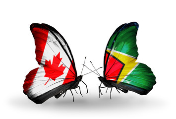 Two butterflies with flags Canada and Guyana