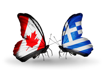 Two butterflies with flags Canada and Greece
