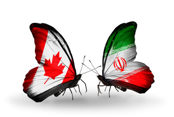 Two butterflies with flags Canada and Iran