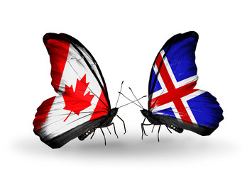 Two butterflies with flags Canada and Iceland