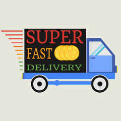 Delivery car with cheese. Vector illustration