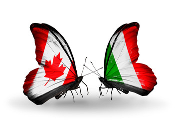 Two butterflies with flags Canada and  Italy