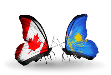 Two butterflies with flags Canada and Kazakhstan
