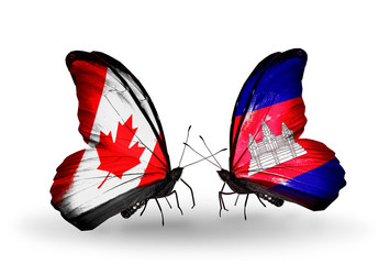 Two butterflies with flags Canada and Cambodia