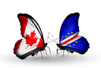 Two butterflies with flags Canada and Cape Verde