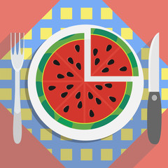 Half of watermelon on the plae with napkin. Vector illustration