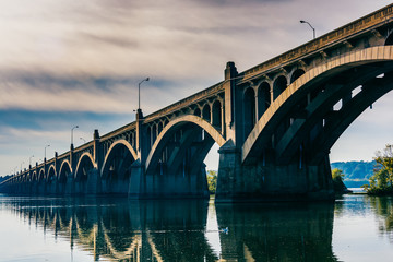 The Veterans Memorial Bridge reflecting in the Susquehanna River