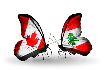 Two butterflies with flags Canada and Lebanon