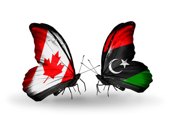Two butterflies with flags Canada and Libya