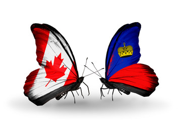 Two butterflies with flags Canada and Liechtenstein