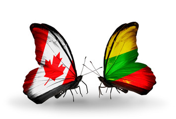 Two butterflies with flags Canada and Lithuania