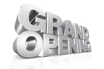 3D silver text grand opening.