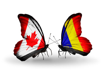 Two butterflies with flags Canada and Chad, Romania