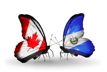 Two butterflies with flags Canada and Salvador