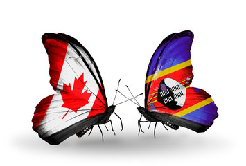 Two butterflies with flags Canada and Swaziland