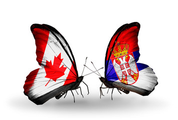 Two butterflies with flags Canada and Serbia