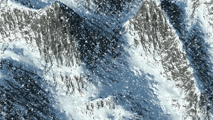 Animated flyover of winter mountains with snowfall