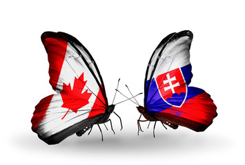 Two butterflies with flags Canada and Slovakia