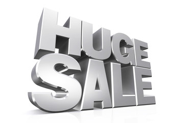 3D silver text huge sale.