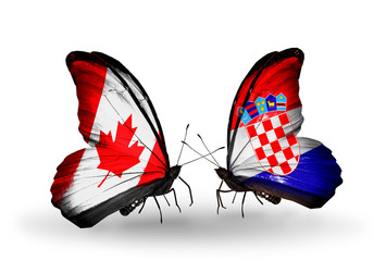 Two butterflies with flags Canada and Croatia