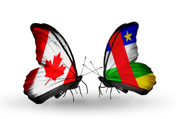 Two butterflies with flags Canada and CAR