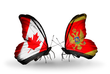 Two butterflies with flags Canada and Montenegro