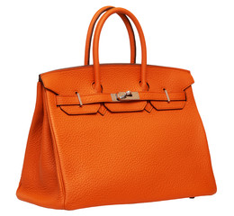 Women's orange leather handbag