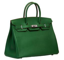 Women's green leather handbag