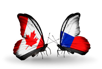 Two butterflies with flags Canada and Czech