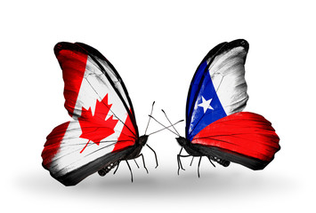Two butterflies with flags Canada and Chile