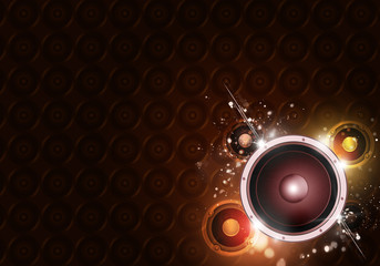 Sound Speaker Gold Background