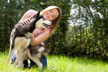 Girl and her husky