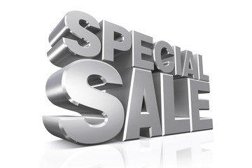 3D silver text special sale.