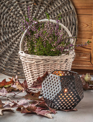Heather in white basket next to a candle