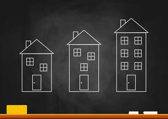 Drawing of building on blackboard