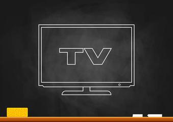 Drawing of TV on blackboard