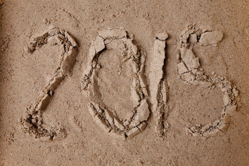 2015 new year in sand