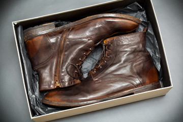 Fashion men's leather shoes in box. Handmade shoes