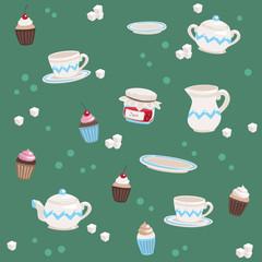 Seamless Tea Pattern Turquoise