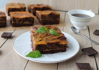 pumpkin-chocolate brownie