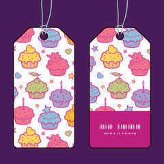 Vector colorful cupcake party vertical stripe frame pattern tags