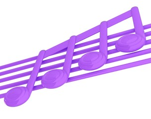 3D music note on staves