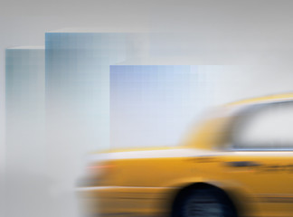 Yellow cab in blurred motion